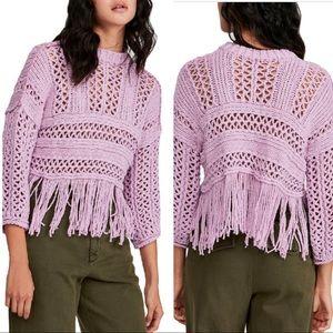 NWT Free People Higher Love Crochet Sweater
